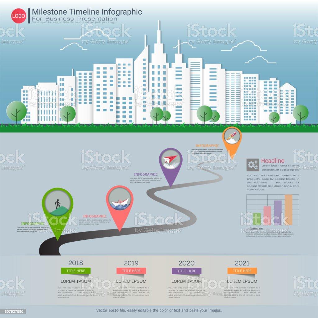 Milestone Timeline Infographic Design Road Map Or ...