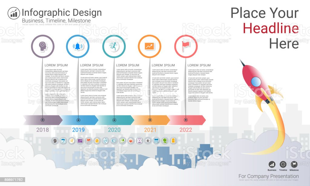 Milestone Timeline Infographic Design Road Map Or Strategic Plan To Define Company Values Can Be