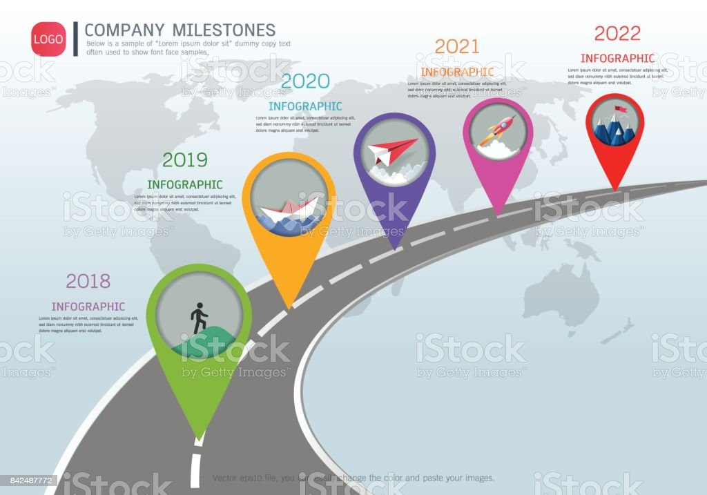 Milestone timeline infographic design template, chart, diagram and other vector elements, Can be used milestones for scheduling in project management to mark specific points along a project timeline. vector art illustration