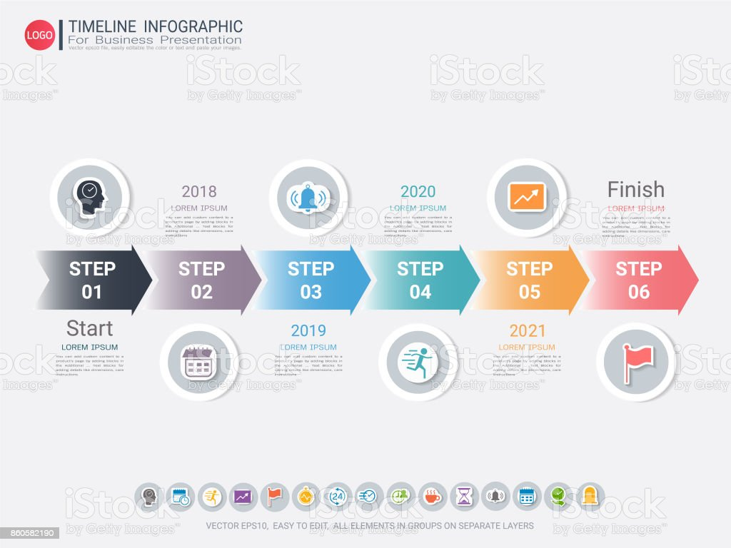 milestone timeline infographic template with six steps or options