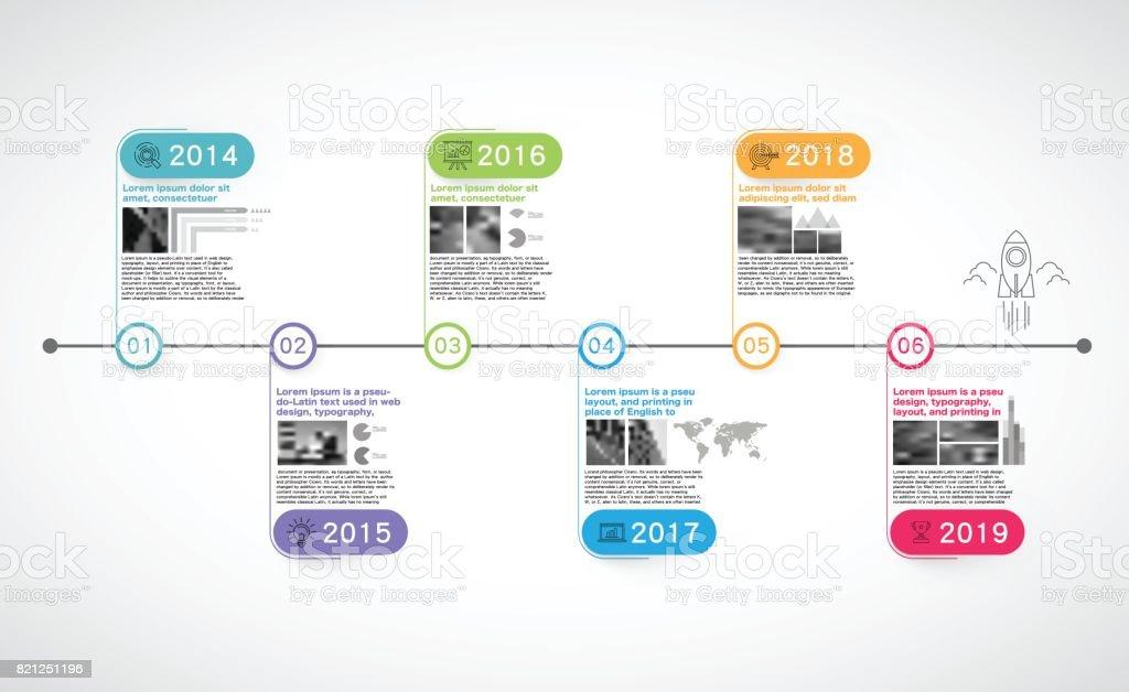 Kilometre taşları şirket, zaman çizelgesi Infographic, vektör, zaman; infographics; Geçmiş; Takvim; satırları; yıl; kilometre taşı; zaman çizgisi görüntüsü vektör sanat illüstrasyonu