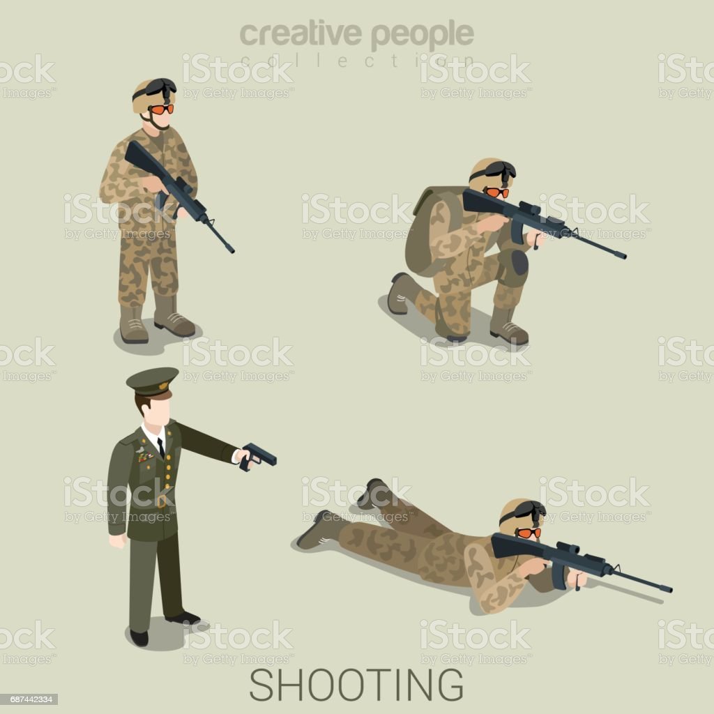 Military Aiming Shooting People In Uniform Flat Isometric 3d