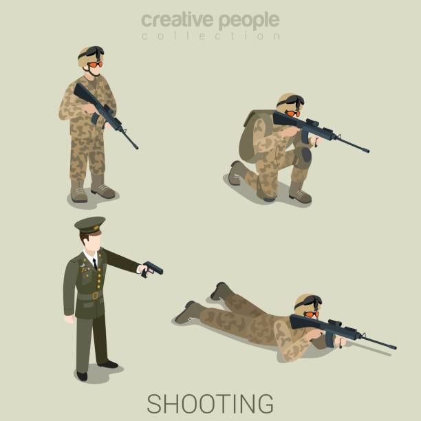 Military aiming shooting people in uniform flat isometric 3d game avatar user profile icon vector set. Soldier SWAT officer sniper special operation unit. Build your own world web collection. vector art illustration