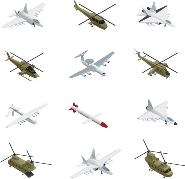 military air force isometric Military air force isometric icon set airplanes and helicopters with different types colors sizes and purposes military airplane stock illustrations