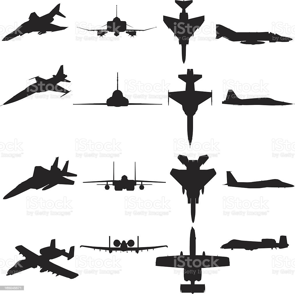 Military Aircraft Silhouette Collection Stock Vector Art