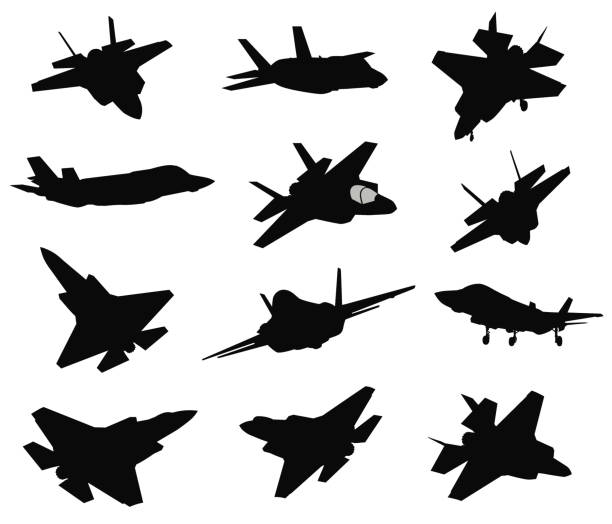 12 Military aircrafts set Military stealth aircraft silhouettes collection. Vector fighter plane stock illustrations