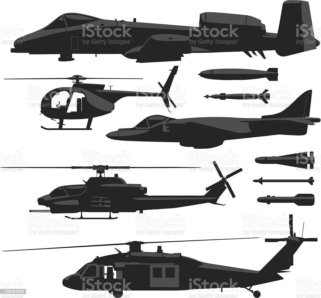 Military Aircrafts vector art illustration