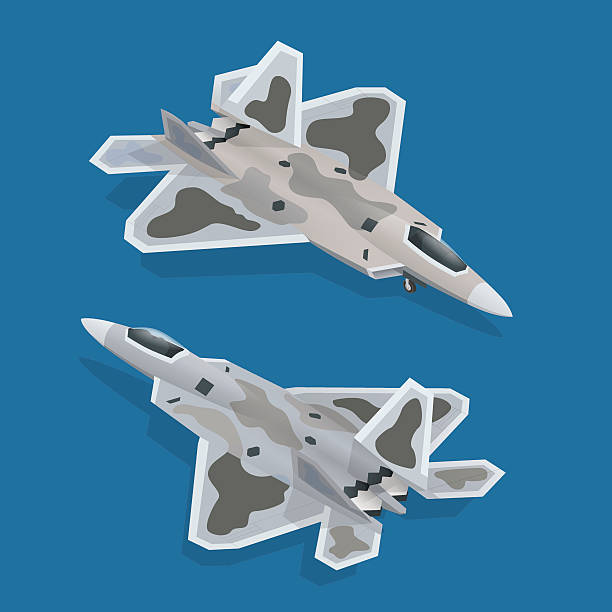 Military airplane isometric Military airplane at flying. Flat 3d isometric high quality military vehicles machinery transport private airplane stock illustrations