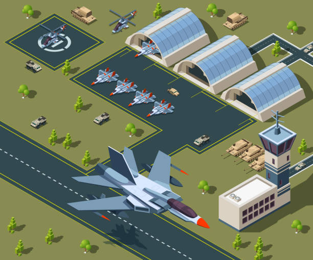 Military airport isometric. Low poly 3d of usa aircraft Military airport isometric. Low poly 3d of usa aircraft. Airplane on airbase, helicopter flight transportation. Vector illustration military base stock illustrations