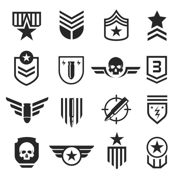 military and army design element icon set - military stock illustrations
