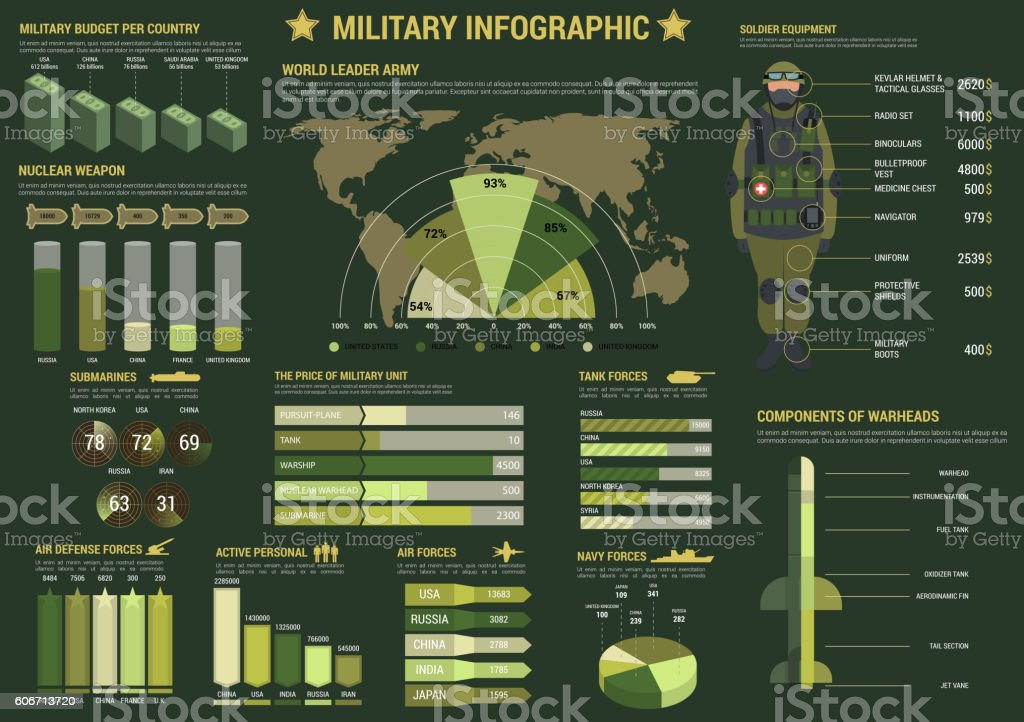 Military and army forces infographics vector art illustration