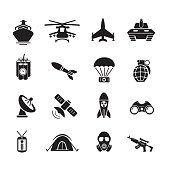 Military and soldier icon, set of 16 editable filled, Simple clearly defined shapes in one color. Vector