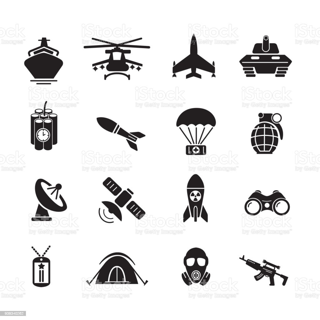 Militar e ícone de soldado - ilustração de arte em vetor