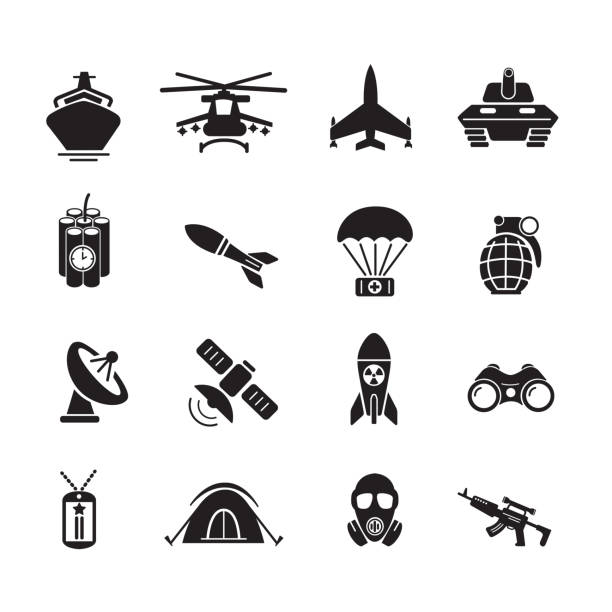 Military and soldier icon Military and soldier icon, set of 16 editable filled, Simple clearly defined shapes in one color. Vector air force stock illustrations