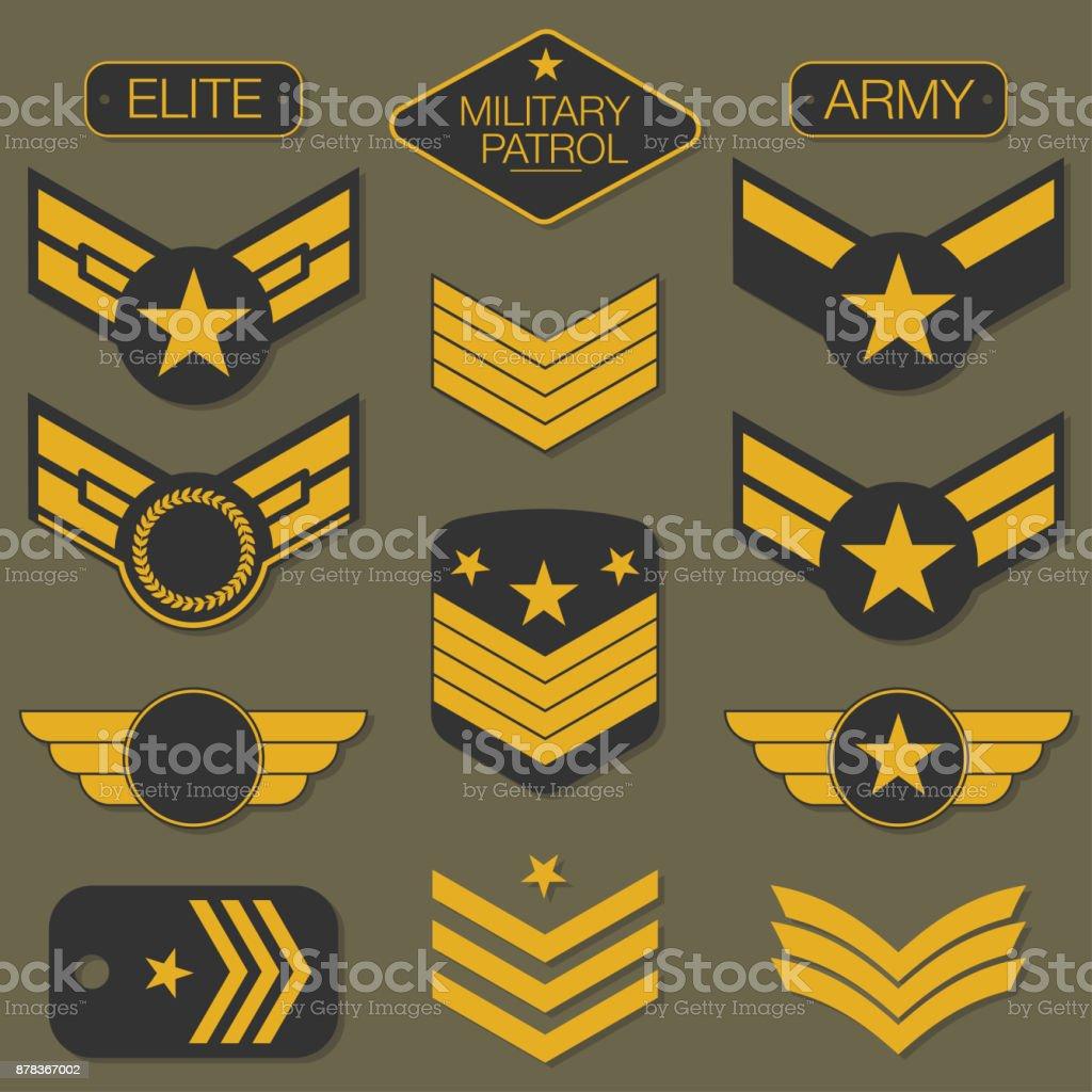 軍事軍隊のバッジは、タイポグラフィを設定します。T シャツ グラフィック ベクターアートイラスト