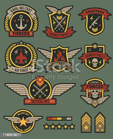 Military army badges. Patches, soldier chevrons with ribbon and star. Vintage airborne labels, t-shirt graphics, military style vector tactical seal tag set