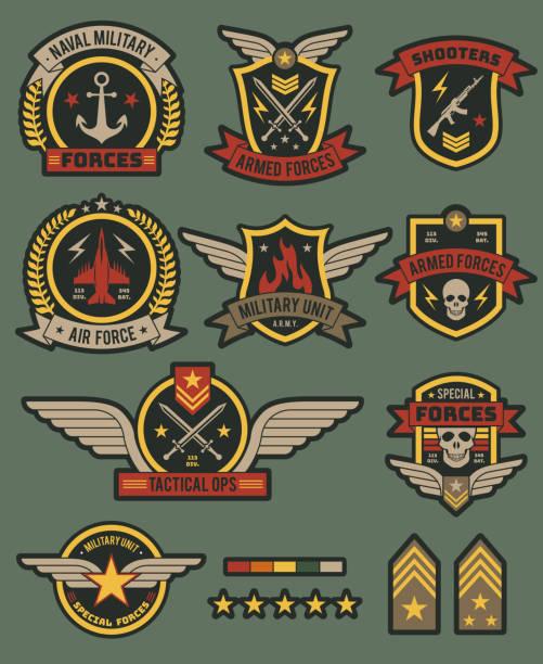 stockillustraties, clipart, cartoons en iconen met militaire leger badges. patches, soldaat punthaken met lint en ster. vintage airborne labels, t-shirt graphics, militaire stijl vector set - patchwork