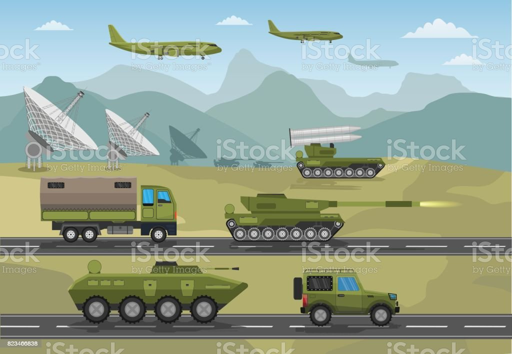 Military army big set of base infographics background vector art illustration