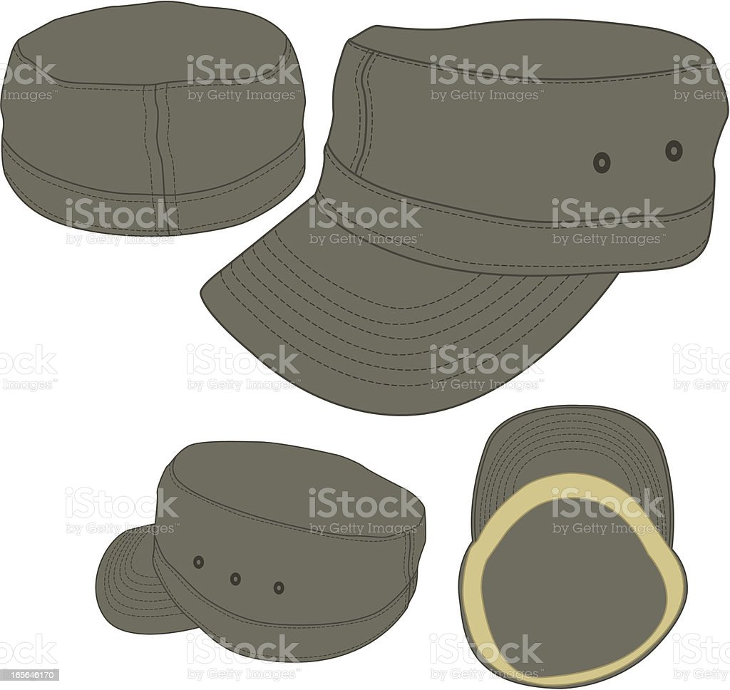military army cadet fitted hat template stock vector art more