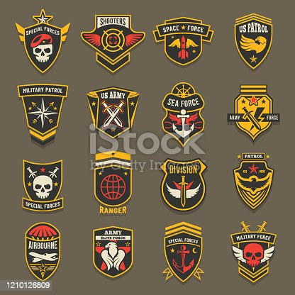US army chevrons, military emblems, marine and air forces vector badges. Military navy patrol squad, sea and space elite forces, aviation rangers and airborne shooters division badges