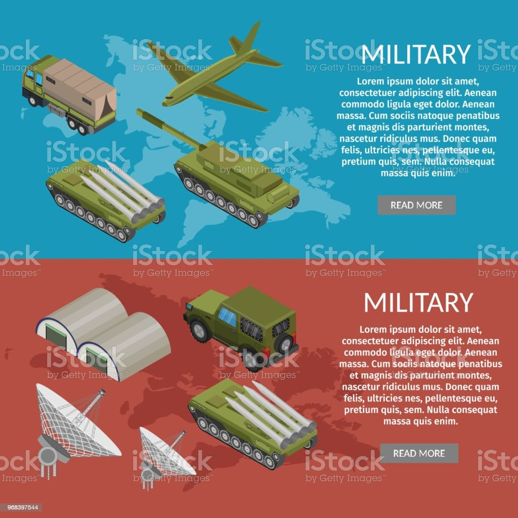 Military army low poly of base isometric banners vector art illustration