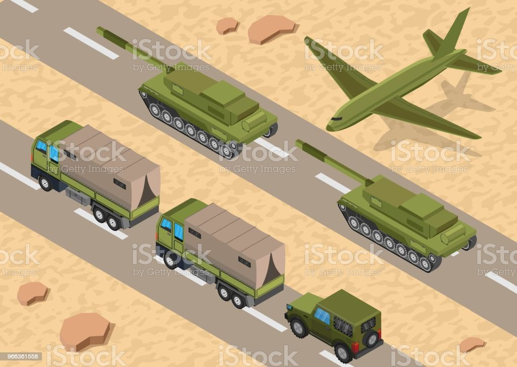 Military army low poly of road base background vector art illustration