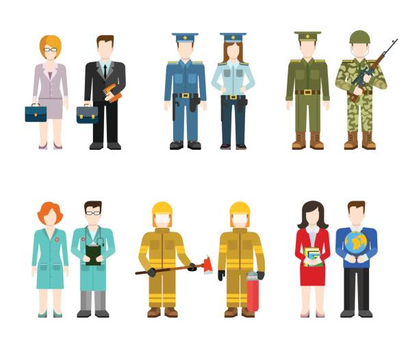 Military army officer commander businessman policeman doctor fireman teacher people in uniform flat avatar user profile icon vector illustration set. Creative people collection. Military army officer commander businessman policeman doctor fireman teacher people in uniform flat avatar user profile icon vector illustration set. Creative people collection. military uniform stock illustrations