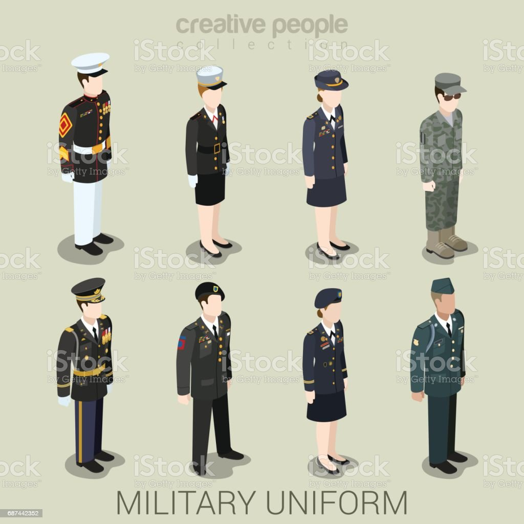 Military army officer commander patrol SWAT people in holiday uniform flat isometric 3d game avatar user profile icon vector illustration set. Creative people collection. Build your own world. vector art illustration