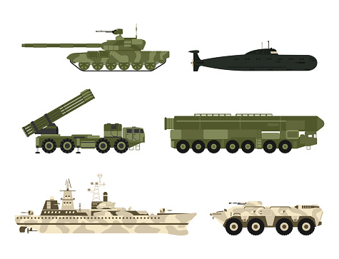 Military army transport technic vector war tanks industry technic armor system armored army personnel camouflage carriers weapon illustration