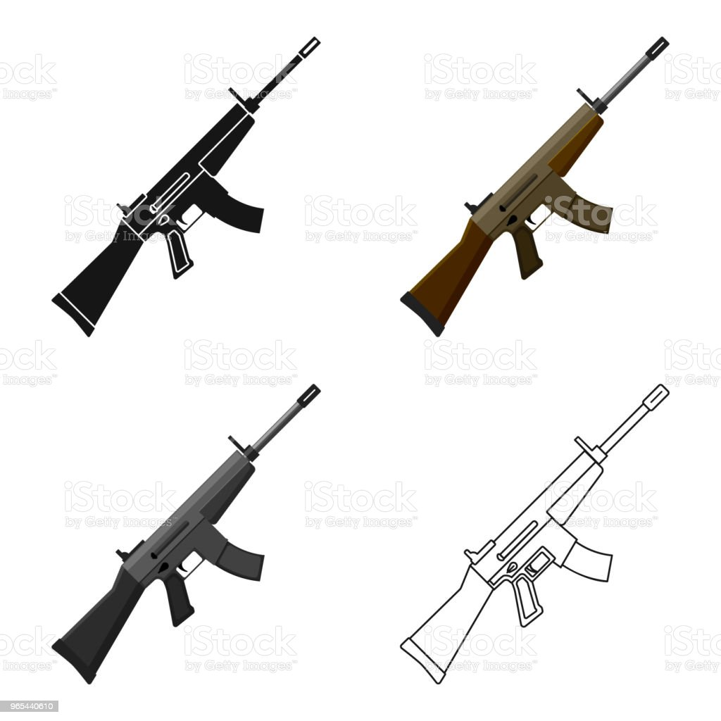 Military assault rifle icon in cartoon style isolated on white background. Military and army symbol stock web vector illustration military assault rifle icon in cartoon style isolated on white background military and army symbol stock web vector illustration - stockowe grafiki wektorowe i więcej obrazów amunicja royalty-free