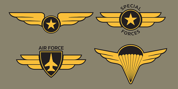 Military badge, army patch and insignia set with wings. Air and airforce emblems with eagle, star and plane. Vector illustration.