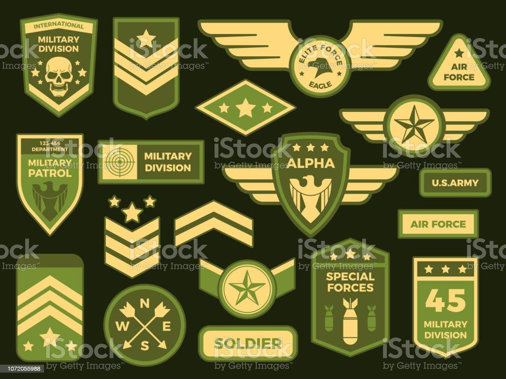Emblemas militares. Exército americano distintivo patch ou divisa do  esquadrão aéreo. Coleção de ilustração 681a360000a