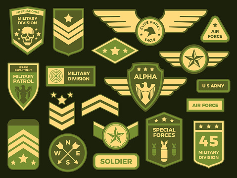 Military badges. American army badge patch or airborne squadron chevron. Vector isolated illustration collection