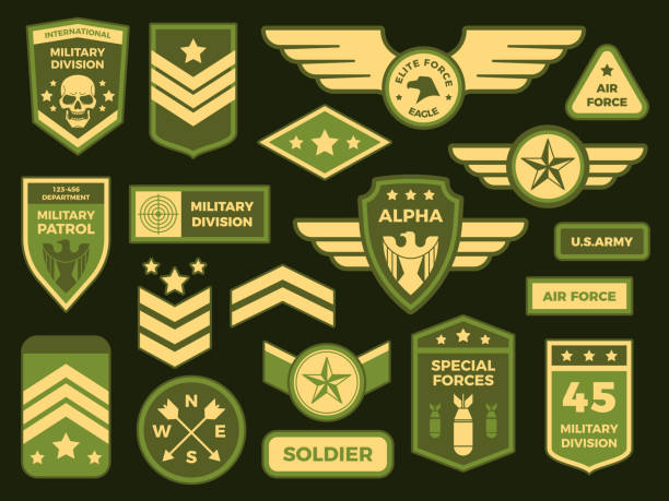 Military badges. American army badge patch or airborne squadron chevron. Vector isolated illustration collection Military badges. American army badge patch or airborne squadron chevron. Military air force medals emblem. Insignia vector isolated symbols illustration collection aircraft wing stock illustrations