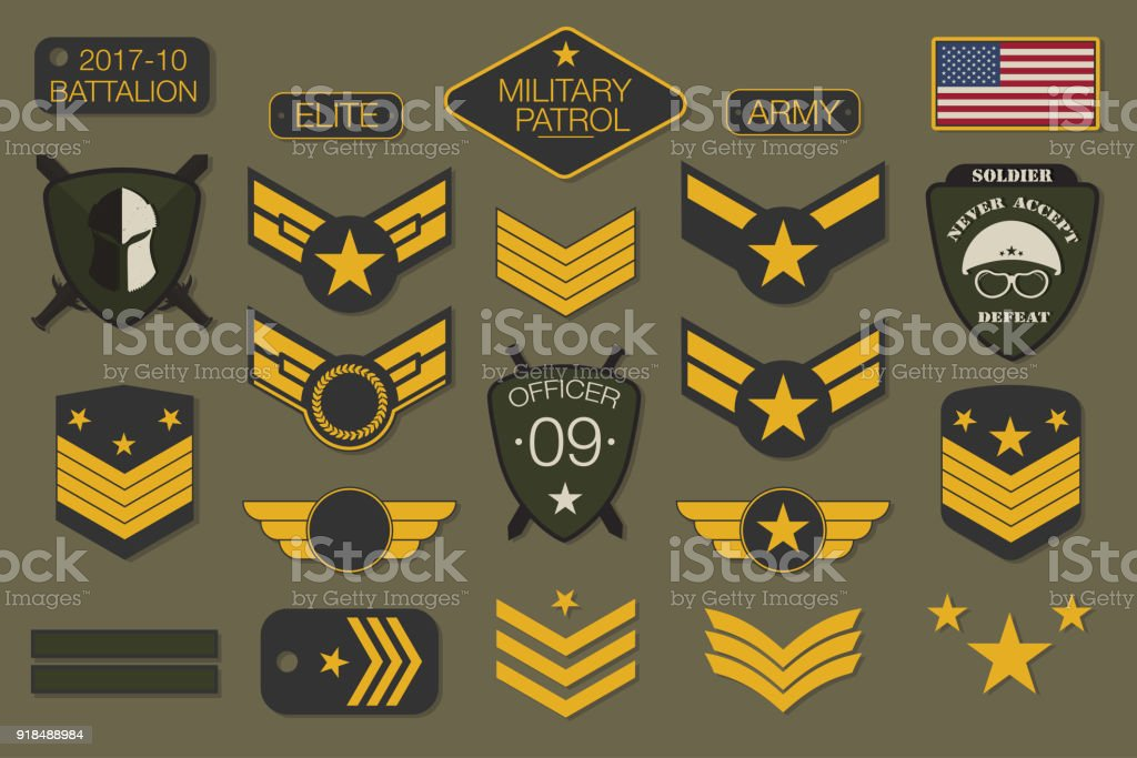 Military badges and army patches typography. Military embroidery chevron and pin design for t-shirt graphic vector art illustration