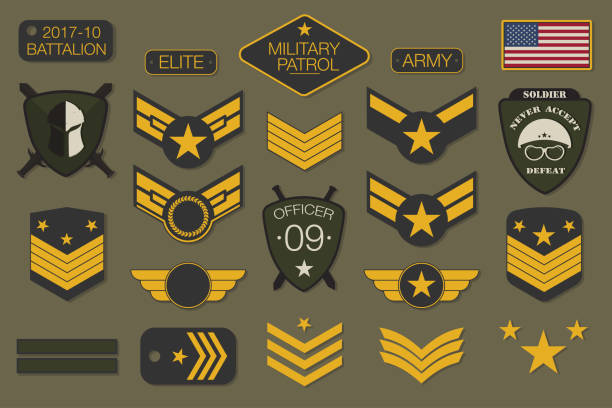 military badges and army patches typography. military embroidery chevron and pin design for t-shirt graphic - army soldier stock illustrations, clip art, cartoons, & icons