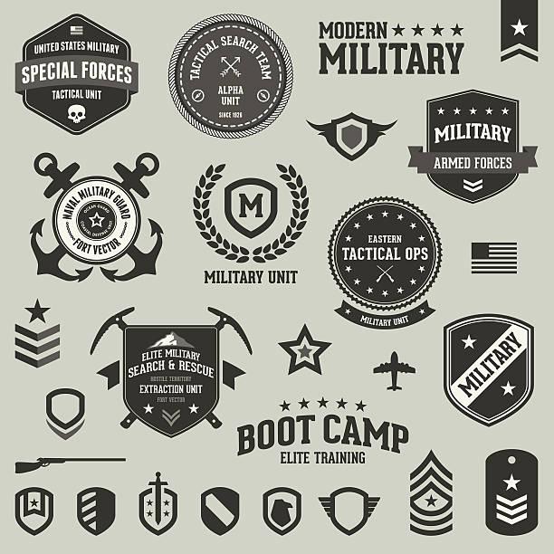 ilustrações, clipart, desenhos animados e ícones de emblemas militares e símbolos - forças armadas