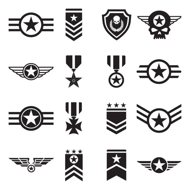 Military Badges Icons. Black Flat Design. Vector Illustration. Logo, Badge, Army, Force major military rank stock illustrations