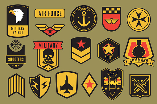Military badges. Usa army patches. American soldier chevrons with wings and stars. Emblem vector set