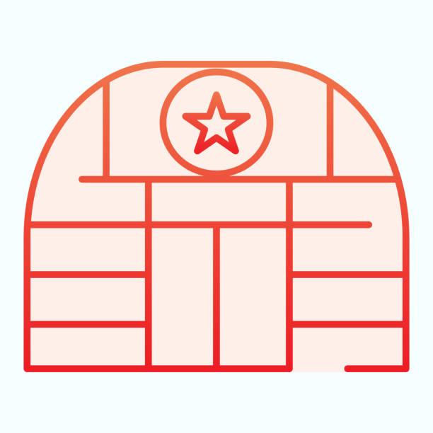 stockillustraties, clipart, cartoons en iconen met militaire basis plat pictogram. de bouwvectorillustratie van het leger die op wit wordt geïsoleerd. ontwerp van de stijl van vliegbasisgradiënt, ontworpen voor web en app. eps 10. - vliegveld