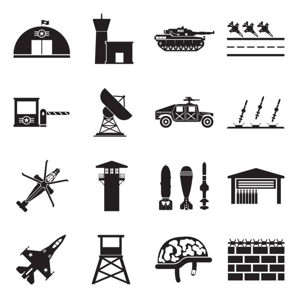 Military Base Icons. Black Flat Design. Vector Illustration. Police, Army, Base, Place military base stock illustrations