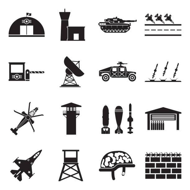 stockillustraties, clipart, cartoons en iconen met militaire basis pictogrammen. zwart plat ontwerp. vector illustratie. - vliegveld