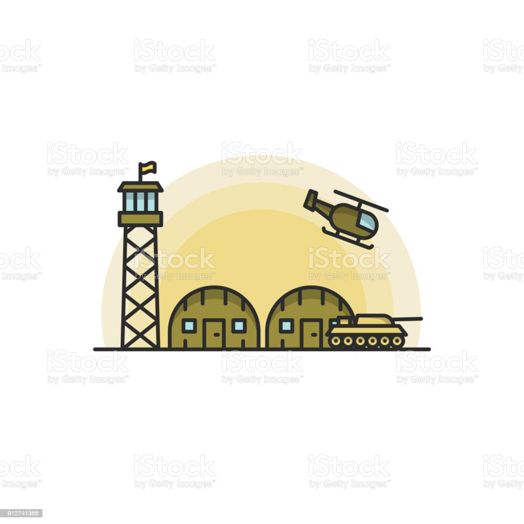Military Base with Army and Air Force Vehicles. Vector illustration on white background vector art illustration
