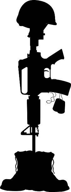 ilustraciones, imágenes clip art, dibujos animados e iconos de stock de militar batalla cruce, casco, machine gun y perros tag - personal militar