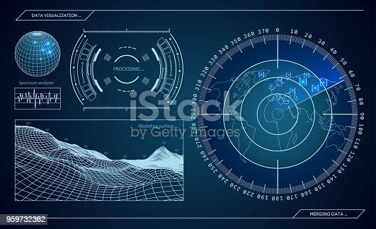 istock Military blue radar. Screen with target. Futuristic HUD interface. Stock vector illustration 959732362