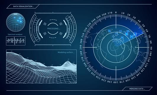 Military blue radar. Screen with target. Futuristic HUD interface. Stock vector illustration