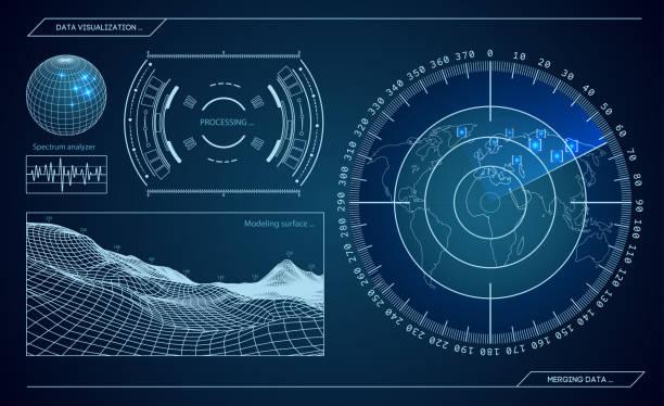 ilustrações, clipart, desenhos animados e ícones de radar militar azul. tela com alvo. interface de hud futurista. ilustração em vetor de estoque - forças armadas