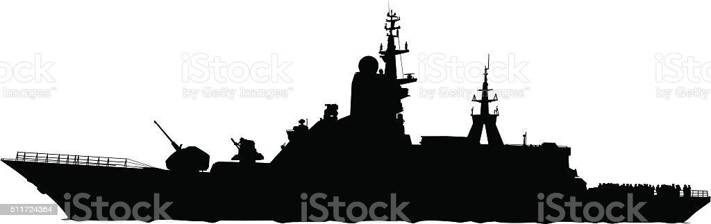 Military boat vector art illustration