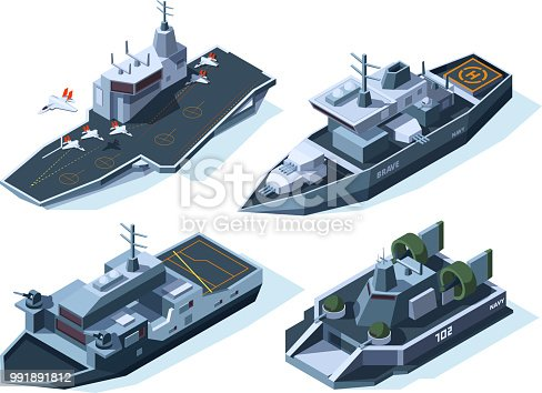 Military boats isometric. Vector american navy. Military boat, ship, war transport and warship illustration