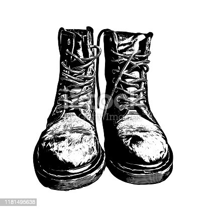 Military Boots Black Ink Graphic Drawn Illustration